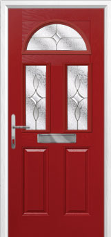 2 Panel 2 Square 1 Arch Flair Composite Front Door in Red
