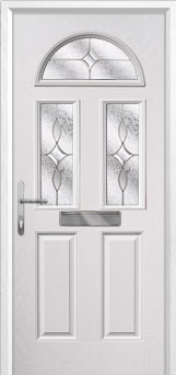 2 Panel 2 Square 1 Arch Flair Composite Front Door in White