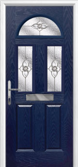 2 Panel 2 Square 1 Arch Finesse Composite Front Door in Blue