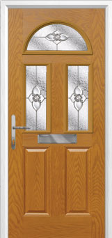 2 Panel 2 Square 1 Arch Finesse Composite Front Door in Oak