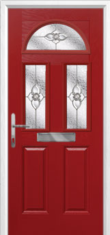 2 Panel 2 Square 1 Arch Finesse Composite Front Door in Red