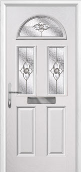 2 Panel 2 Square 1 Arch Finesse Composite Front Door in White