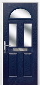 2 Panel 2 Square 1 Arch Glazed Composite Front Door in Blue