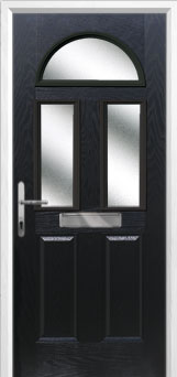 2 Panel 2 Square 1 Arch Glazed Composite Front Door in Black