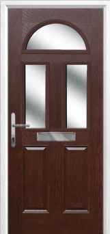 2 Panel 2 Square 1 Arch Glazed Composite Front Door in Darkwood