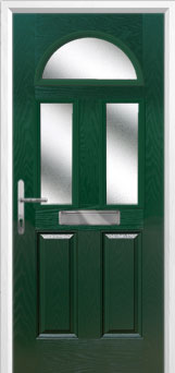 2 Panel 2 Square 1 Arch Glazed Composite Front Door in Green