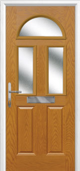 2 Panel 2 Square 1 Arch Glazed Composite Front Door in Oak