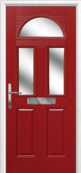 2 Panel 2 Square 1 Arch Glazed Composite Front Door in Red
