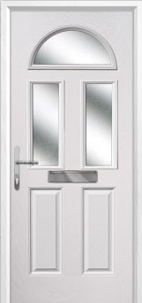 2 Panel 2 Square 1 Arch Glazed Composite Front Door in White