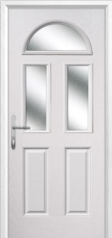2 Panel 2 Square 1 Arch Glazed Composite Back Door in White