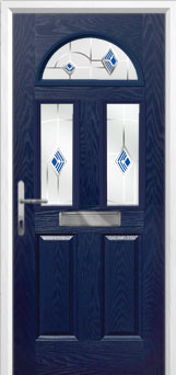 2 Panel 2 Square 1 Arch Murano Composite Front Door in Blue