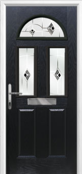 2 Panel 2 Square 1 Arch Murano Composite Front Door in Black