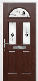 2 Panel 2 Square 1 Arch Murano Composite Front Door in Darkwood