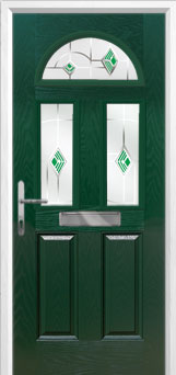 2 Panel 2 Square 1 Arch Murano Composite Front Door in Green