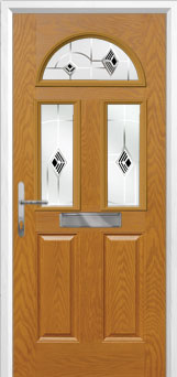 2 Panel 2 Square 1 Arch Murano Composite Front Door in Oak