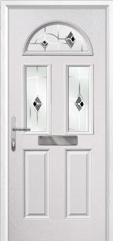2 Panel 2 Square 1 Arch Murano Composite Front Door in White
