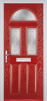 2 Panel 2 Square 1 Arch Staxton Composite Front Door in Red
