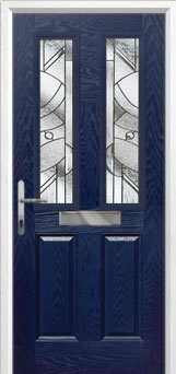 2 Panel 2 Square Abstract Composite Front Door in Blue