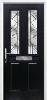 2 Panel 2 Square Abstract Composite Front Door in Black