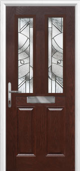 2 Panel 2 Square Abstract Composite Front Door in Darkwood