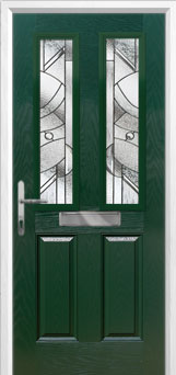 2 Panel 2 Square Abstract Composite Front Door in Green