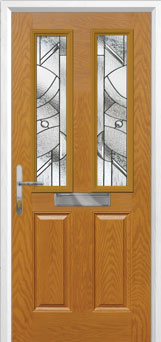 2 Panel 2 Square Abstract Composite Front Door in Oak