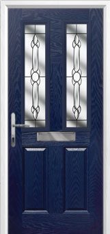 2 Panel 2 Square Crystal Bohemia Composite Front Door in Blue