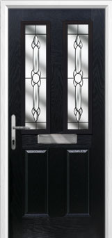 2 Panel 2 Square Crystal Bohemia Composite Front Door in Black