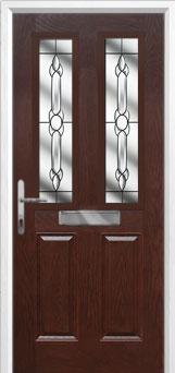 2 Panel 2 Square Crystal Bohemia Composite Front Door in Darkwood