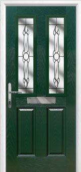 2 Panel 2 Square Crystal Bohemia Composite Front Door in Green