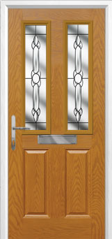 2 Panel 2 Square Crystal Bohemia Composite Front Door in Oak