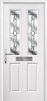 2 Panel 2 Square Crystal Bohemia Composite Front Door in White