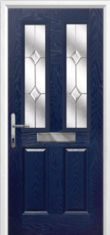 2 Panel 2 Square Classic Composite Front Door in Blue