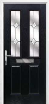 2 Panel 2 Square Classic Composite Front Door in Black