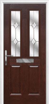 2 Panel 2 Square Classic Composite Front Door in Darkwood