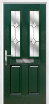 2 Panel 2 Square Classic Composite Front Door in Green
