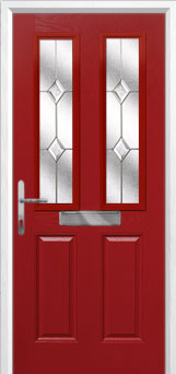 2 Panel 2 Square Classic Composite Front Door in Red