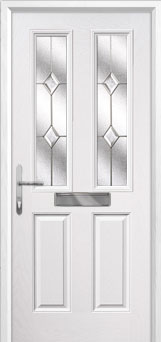 2 Panel 2 Square Classic Composite Front Door in White