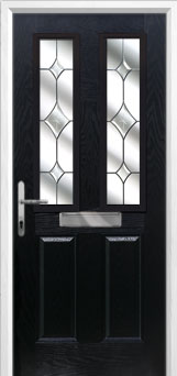 2 Panel 2 Square Crystal Diamond Composite Front Door in Black