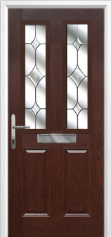 2 Panel 2 Square Crystal Diamond Composite Front Door in Darkwood