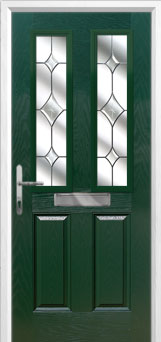 2 Panel 2 Square Crystal Diamond Composite Front Door in Green