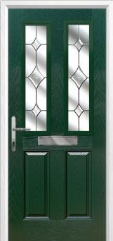 2 Panel 2 Square Crystal Diamond Composite Front Door in Green