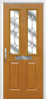 2 Panel 2 Square Crystal Diamond Composite Front Door in Oak