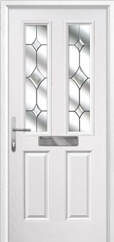 2 Panel 2 Square Crystal Diamond Composite Front Door in White