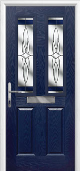 2 Panel 2 Square Crystal Harmony Composite Front Door in Blue