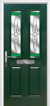 2 Panel 2 Square Crystal Harmony Composite Front Door in Green