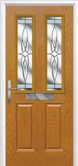 2 Panel 2 Square Crystal Harmony Composite Front Door in Oak