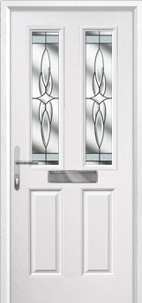 2 Panel 2 Square Crystal Harmony Composite Front Door in White