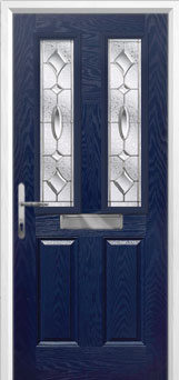 2 Panel 2 Square Zinc/Brass Art Clarity Composite Front Door in Blue