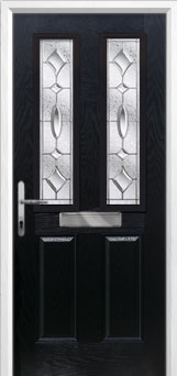 2 Panel 2 Square Zinc/Brass Art Clarity Composite Front Door in Black